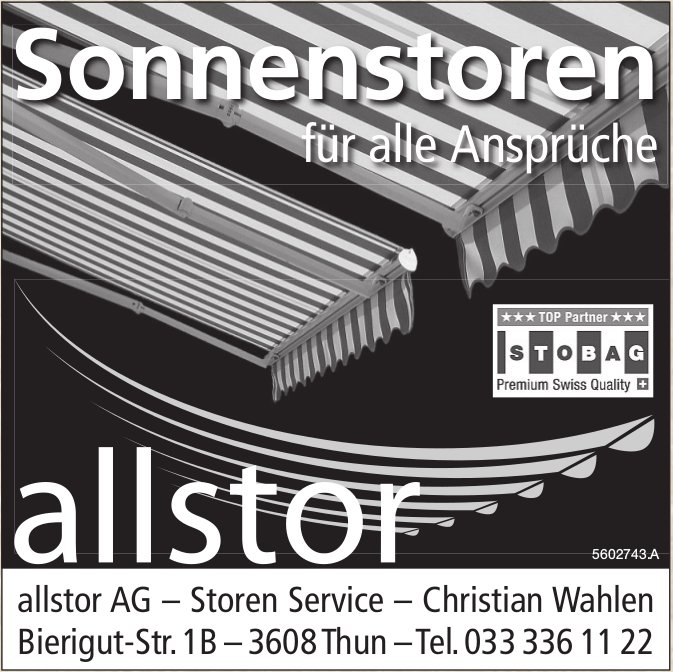 Allstor AG Storen Service - Sonnenstoren für alle Ansprüche