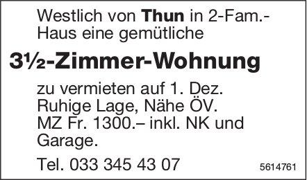 3½-Zimmer-Wohnung Westlich von Thun zu vermieten