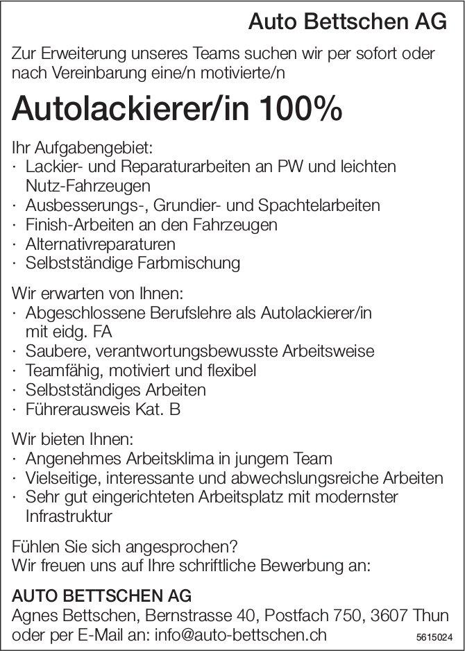 Autolackierer/in 100% Auto Bettschen AG gesucht
