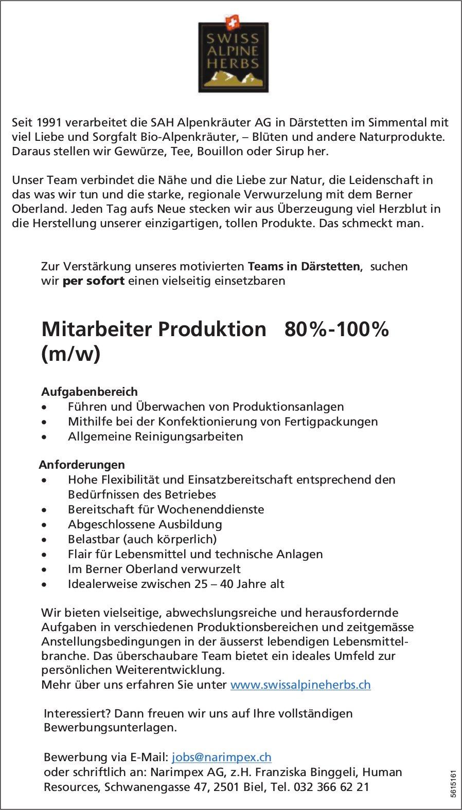 Mitarbeiter Produktion 80%-100% (m/w) bei SAH Alpen kräuter AG gesucht