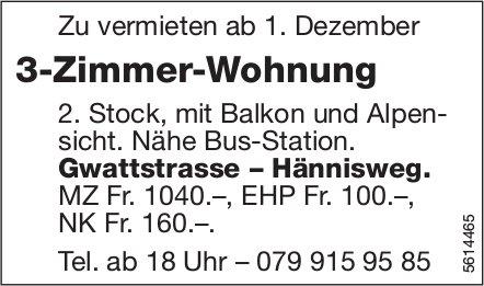 3-Zimmer-Wohnung Nähe Bus-Station Gwattstrasse – Hännisweg zu vermieten