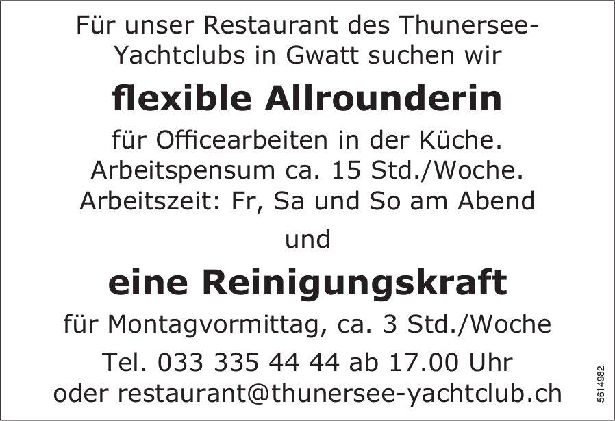 Flexible Allrounderin & Reinigungskraft bei Restaurant des Thunersee-Yachtclubs in Gwatt gesucht