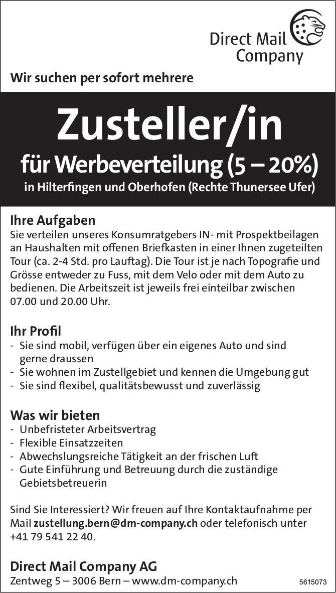 Zusteller/in fürWerbeverteilung (5 – 20%) bei Direct Mail Company AG gesucht