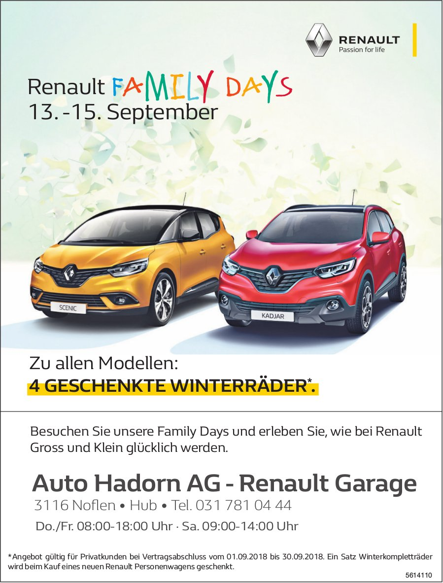 Auto Hadorn AG - Renault Garage - Renault Family Days, 13.-15. September