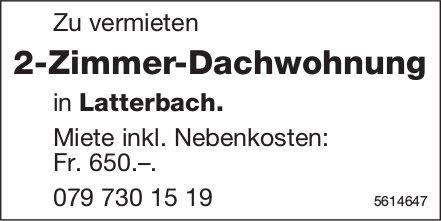 2-Zimmer-Dachwohnung in Latterbach zu vermieten