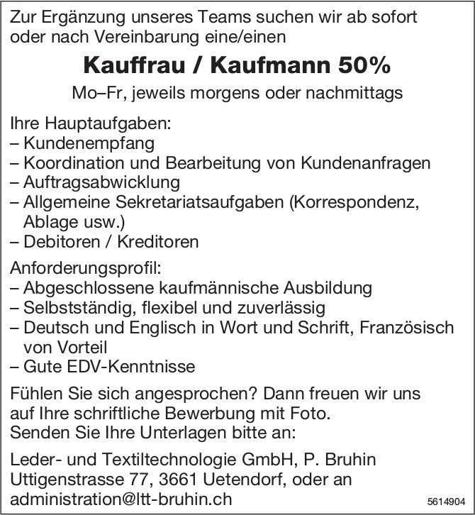 Kauffrau / Kaufmann 50% bei Leder- und Textiltechnologie GmbH gesucht