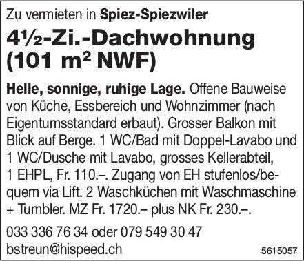 4½-Zi.-Dachwohnung (101 m2 NWF) in Spiez-Spiezwiler zu vermieten