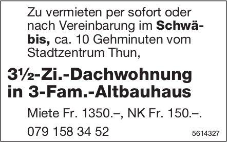 3½-Zi.-Dachwohnung in 3-Fam.-Altbauhaus im Schwäbis zu vermieten