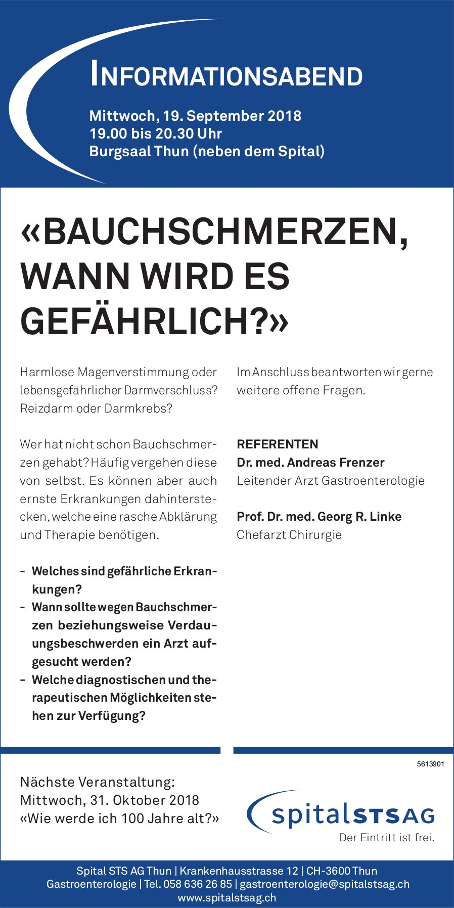 SPITAL STS AG - «BAUCHSCHMERZEN, WANN WIRD ES GEFÄHRLICH?» INFOABEND AM 19. SEPT.