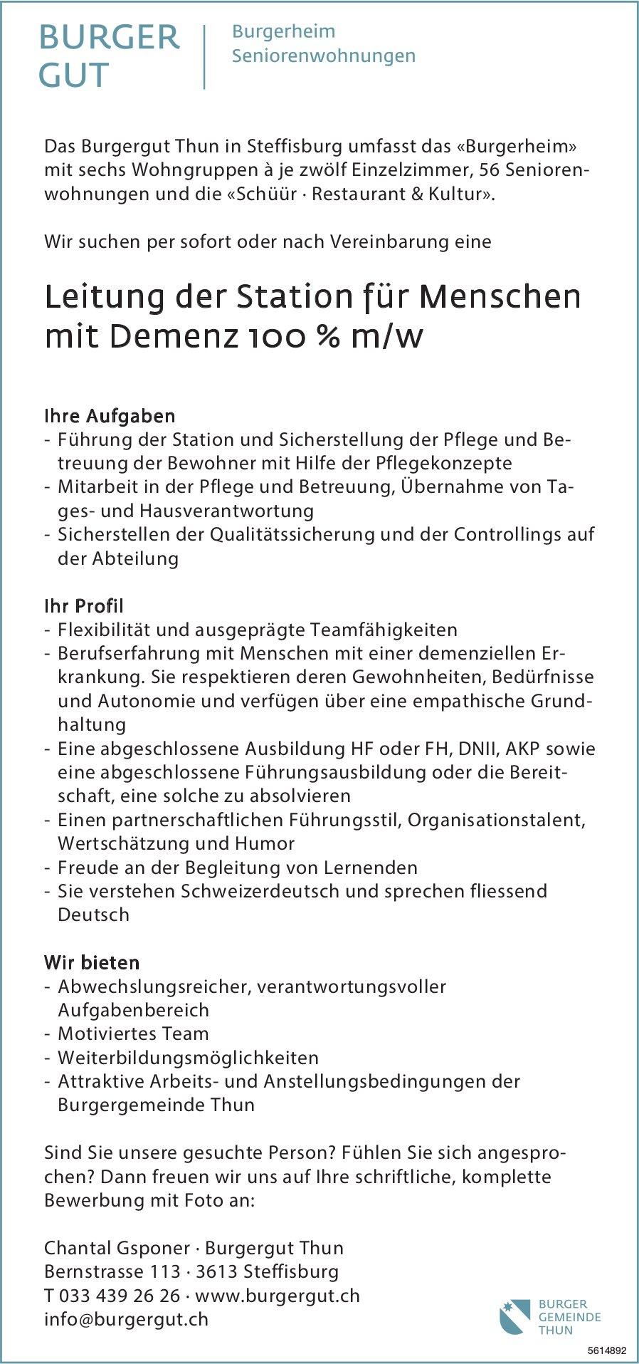 Leitung der Station für Menschen mit Demenz 100 % m/w bei Burgergut  Thun gesucht