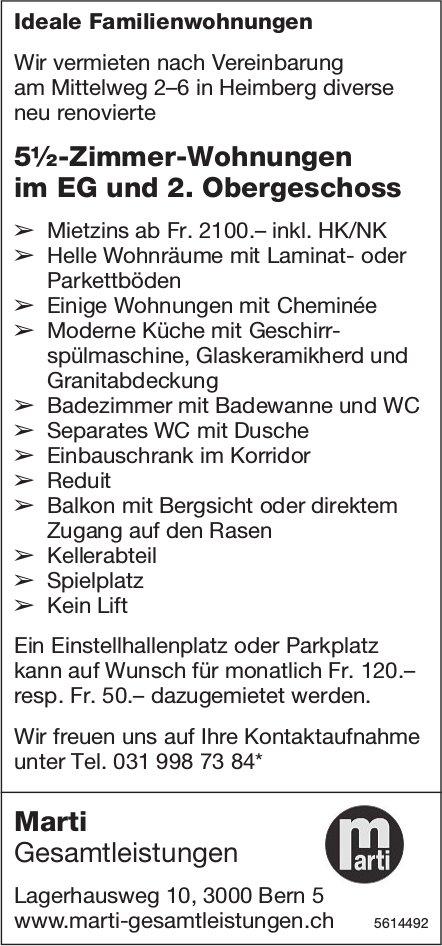5½-Zimmer-Wohnungen im EG und 2. Obergeschoss in Heimberg zu vermieten