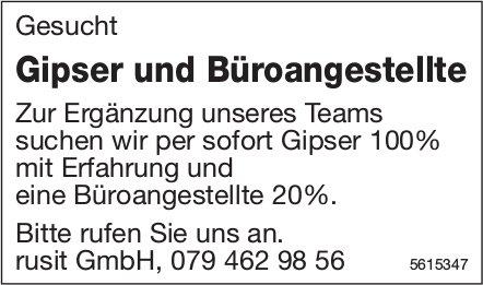 Gipser und Büroangestellte, rusit GmbH, gesucht