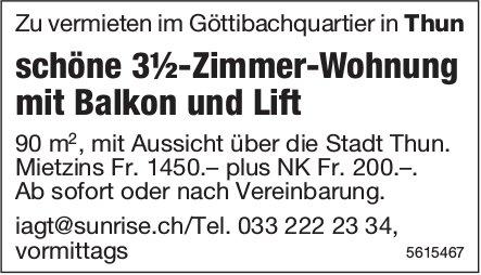 Schöne 3½-Zimmer-Wohnung  im Göttibachquartier in Thun zu vermieten