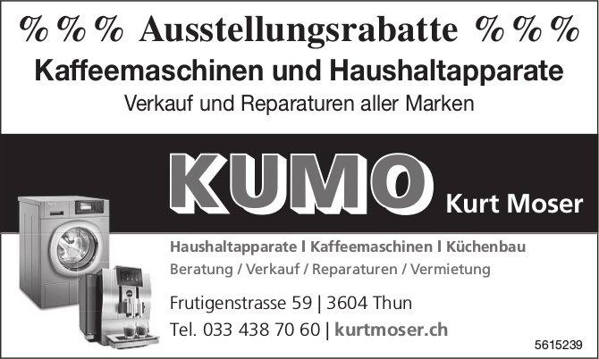 KUMO Kurt Moser, Thun - Ausstellungsrabatte, Kaffeemaschinen und Haushaltapparate