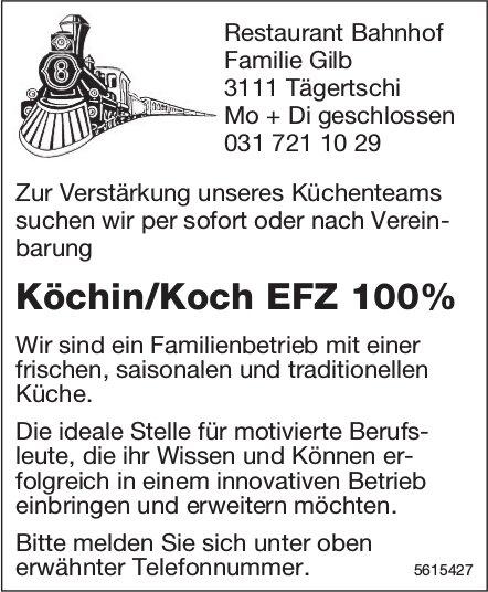 Köchin/Koch EFZ 100%, Restaurant Bahnhof, Tägertschi, gesucht