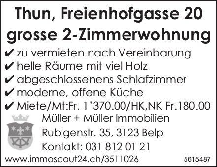 Thun, Freienhofgasse 20 grosse 2-Zimmerwohnung zu vermieten