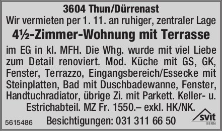 4½-Zimmer-Wohnung mit Terrasse in Thun/Dürrenast zu vermieten