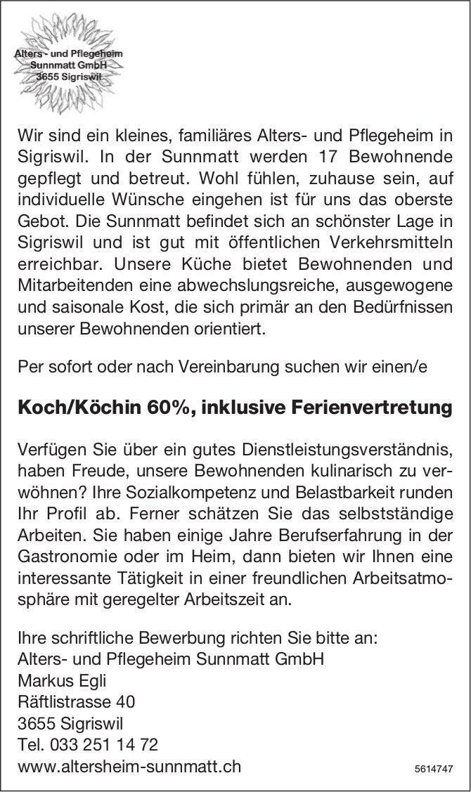 Koch/Köchin 60%, inklusive Ferienvertretung, Alters- und Pflegeheim Sunnmatt GmbH, Sigriswil, gesucht