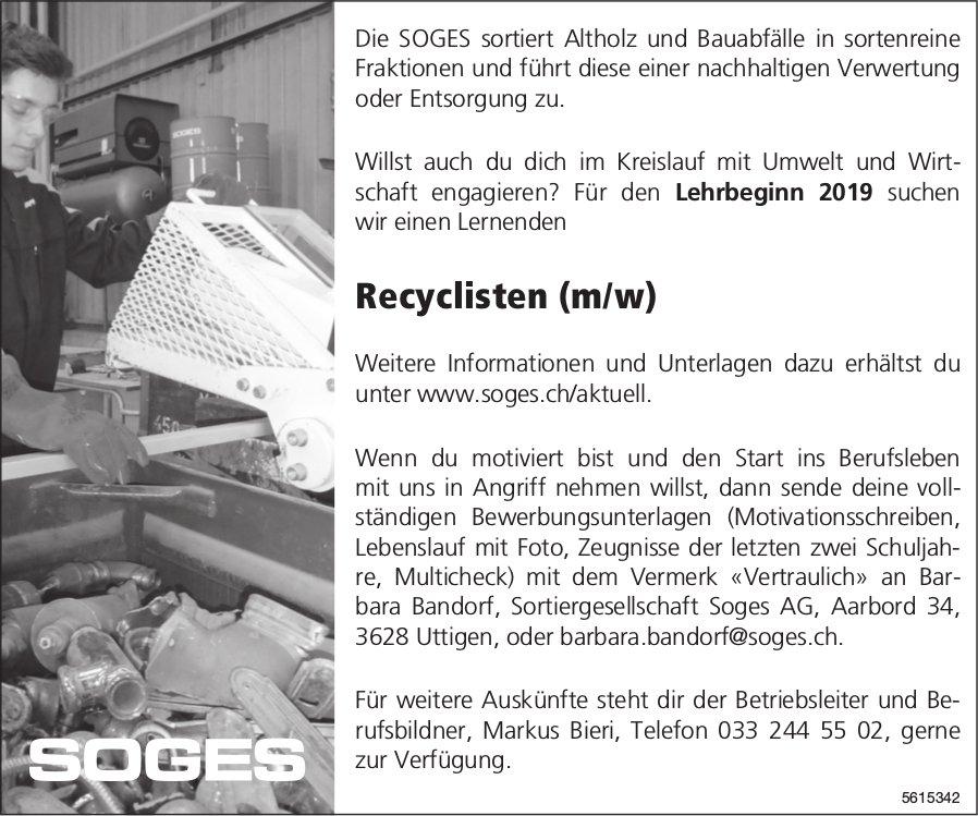Lehrstelle als Recyclist (m/w), Sortiergesellschaft SOGES AG, Uttigen, zu vergeben