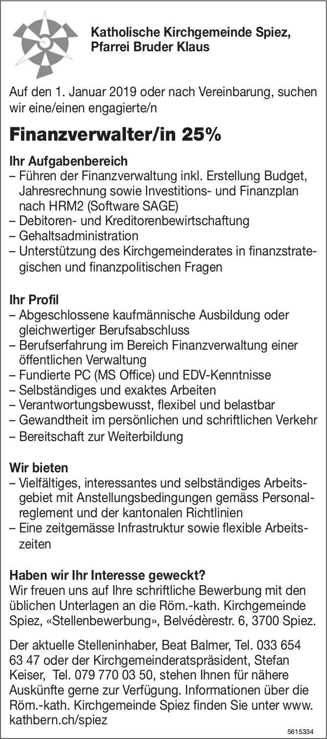 Finanzverwalter/in 25%, Katholische Kirchgemeinde Spiez, Pfarrei Bruder Klaus, gesucht