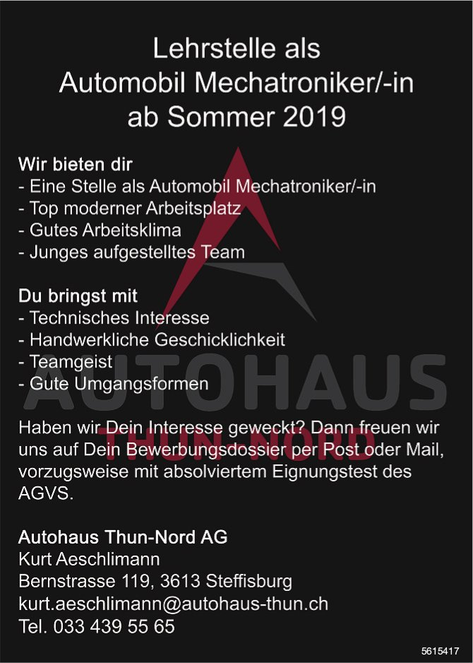 Lehrstelle als Automobil Mechatroniker/-in