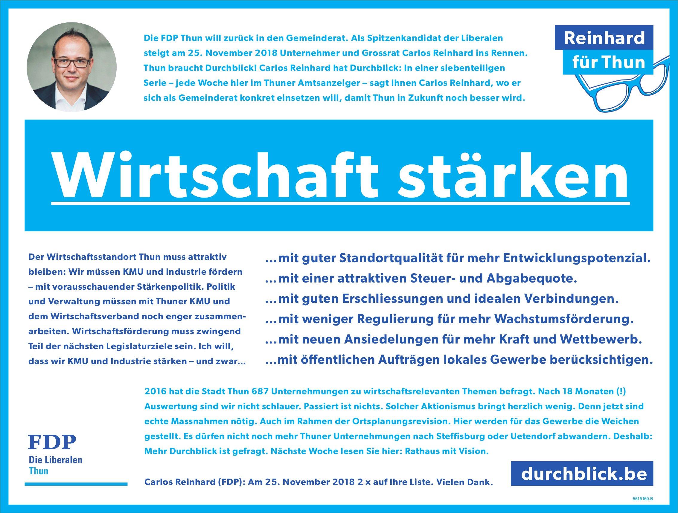 FDP - Reinhard für Thun : Wirtschaft stärken