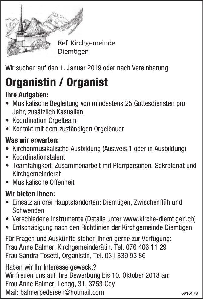 Organistin / Organist, Ref. Kirchgemeinde Diemtigen, gesucht