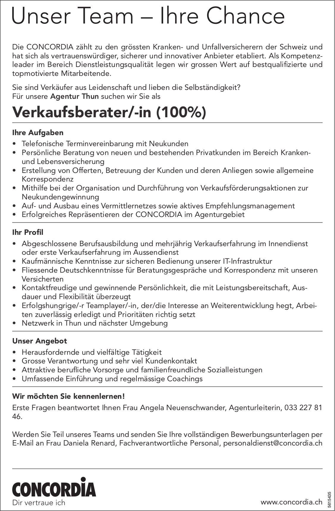 Verkaufsberater/-in (100%), Concordia, Agentur Thun, gesucht