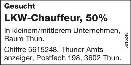 LKW-Chauffeur, 50%, Raum Thun, gesucht