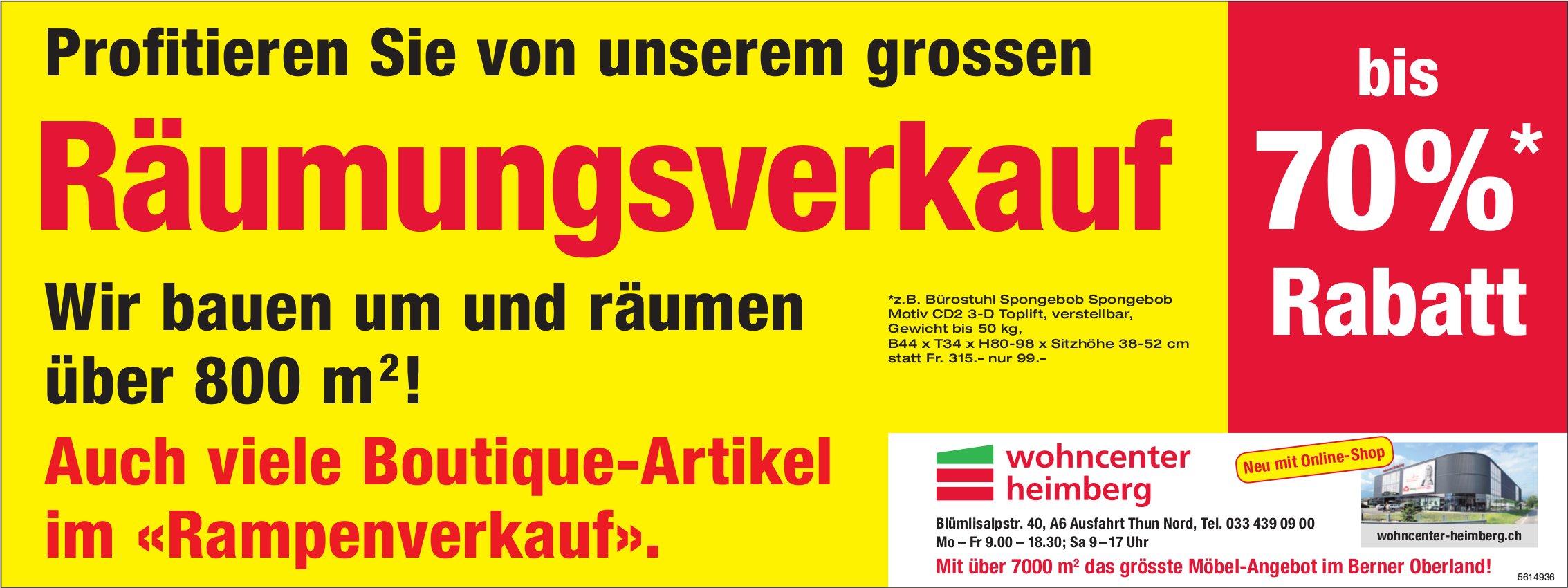 Wohncenter Heimberg - Profitieren Sie von unserem grossen Räumungsverkauf!