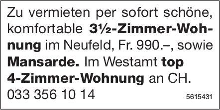 3.5-Zimmer-Wohnung im Neufeld sowie Mansarde und im Westamt top 4-Zimmer-Wohnung an CH zu vermieten