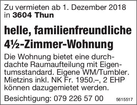 Helle, familienfreundliche 4½-Zimmer-Wohnung in Thun zu vermieten