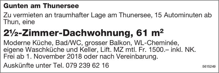 2½-Zimmer-Dachwohnung, 61 m2 in Gunten am Thunersee zu vermieten