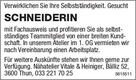 SCHNEIDERIN, Nähatelier Vitale & Heiniger, Thun, gesucht