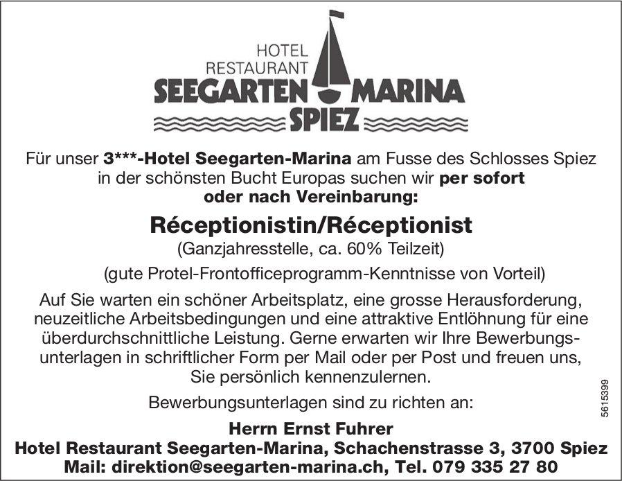 Réceptionistin/Réceptionist (Ganzjahresstelle, ca. 60% Teilzeit), Hotel Restaurant Seegarten-Marina