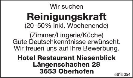 Reinigungskraft (20–50% inkl. Wochenende), Hotel Restaurant Niesenblick, Oberhofen, gesucht