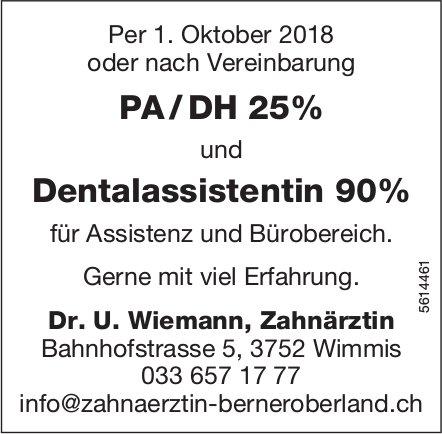 PA / DH 25% & Dentalassistentin 90%, Dr. U. Wiemann, Zahnärztin, Wimmis, gesucht