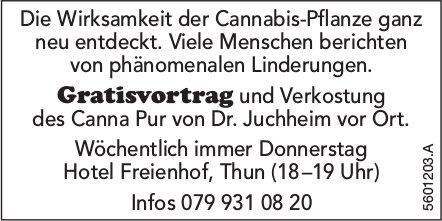 Gratisvortrag und Verkostung des Canna Pur von Dr. Juchheim vor Ort, Hotel Freienhof