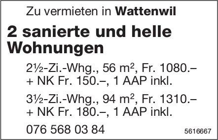 2 sanierte und helle Wohnungen in Wattenwil zu vermieten