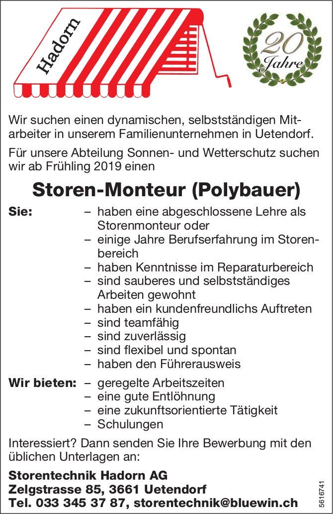 Storen-Monteur (Polybauer) bei Storentechnik Hadorn AG gesucht