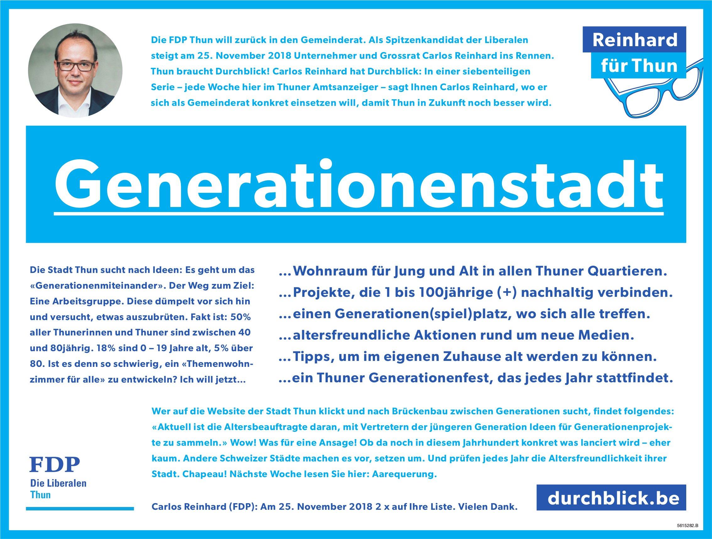 Generationenstadt, Reinhard für Thun