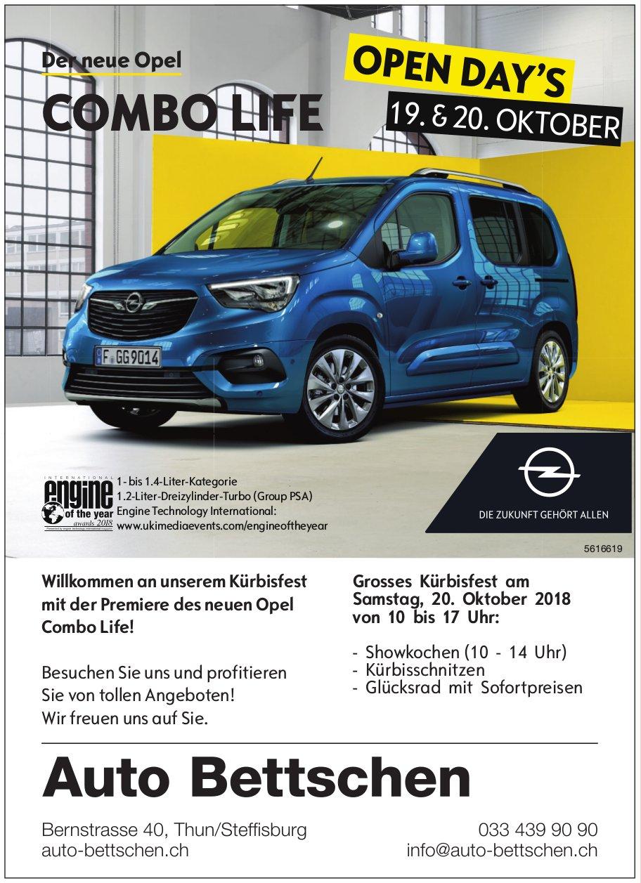 Auto Bettschen - Der neue Opel COMBO LIFE: Open Day's 19. & 20. Oktober