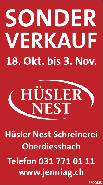 Sonderverkauf, 18. Okt. - 3. Nov., Hüsler Nest