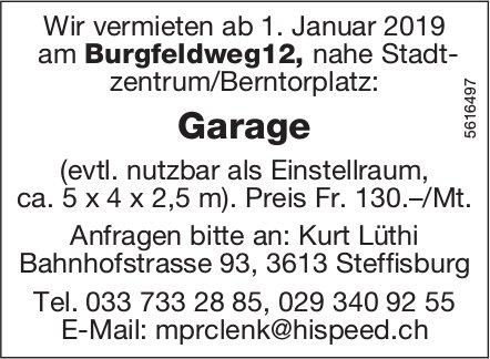 Garage nahe Stadtzentrum/Berntorplatz zu vermieten