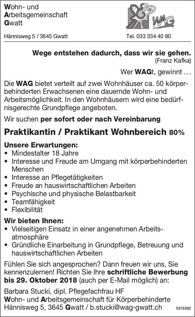Praktikantin / Praktikant Wohnbereich 80% bei WAG gesucht