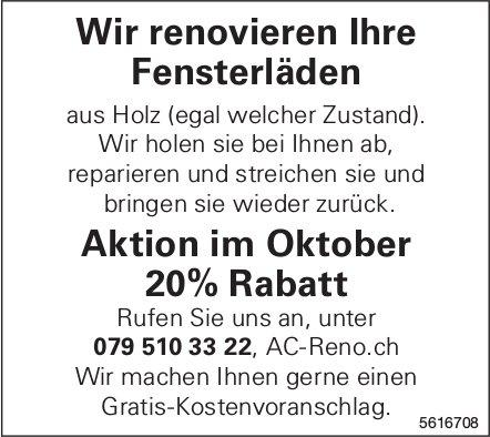 Wir renovieren Ihre Fensterläden, Aktion im Oktober 20% Rabatt