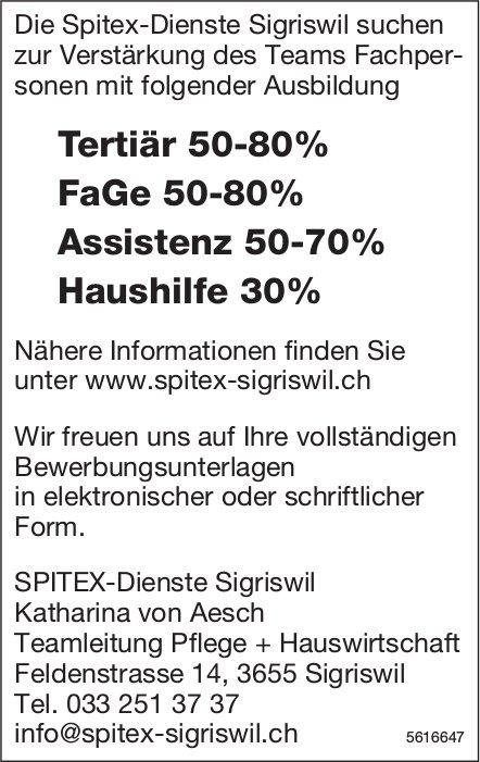 Die Spitex-Dienste Sigriswil suchen zur Verstärkung des Teams Fachpersonen