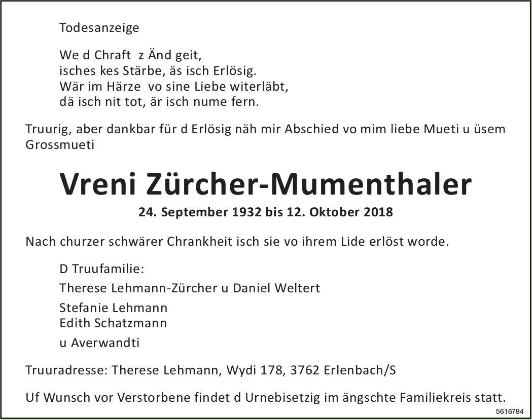 Zürcher-Mumenthaler Vreni, Oktober 2018 / TA