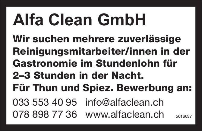 Reinigungsmitarbeiter/innen in der Gastronomie im Stundenlohn bei Alfa Clean GmbH gesucht