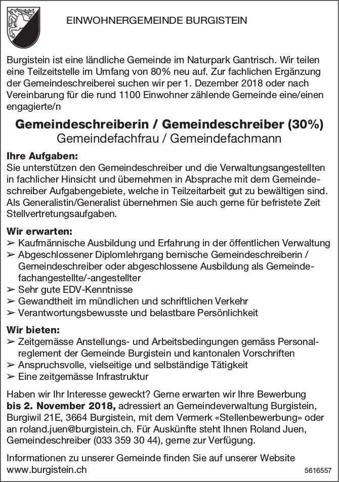 Gemeindeschreiberin / Gemeindeschreiber (30%) bei Einwohnergemeinde Burgistein gesucht